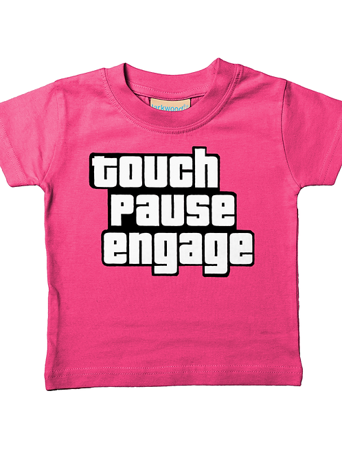Touch Pause Engage! Cool, Funny, Babies Rugby T-Shirt
