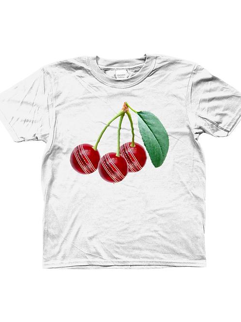 Cricket Ball Cherries! Funny, Kids Cricket T-Shirt