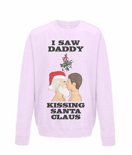 I Saw Daddy Kissing Santa Claus! Funny, Gay, Christmas Jumper (black font)