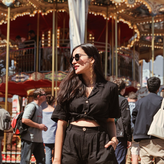 Urmi Daga of the blog What Wear How in our shoulder dusters for one of her trip