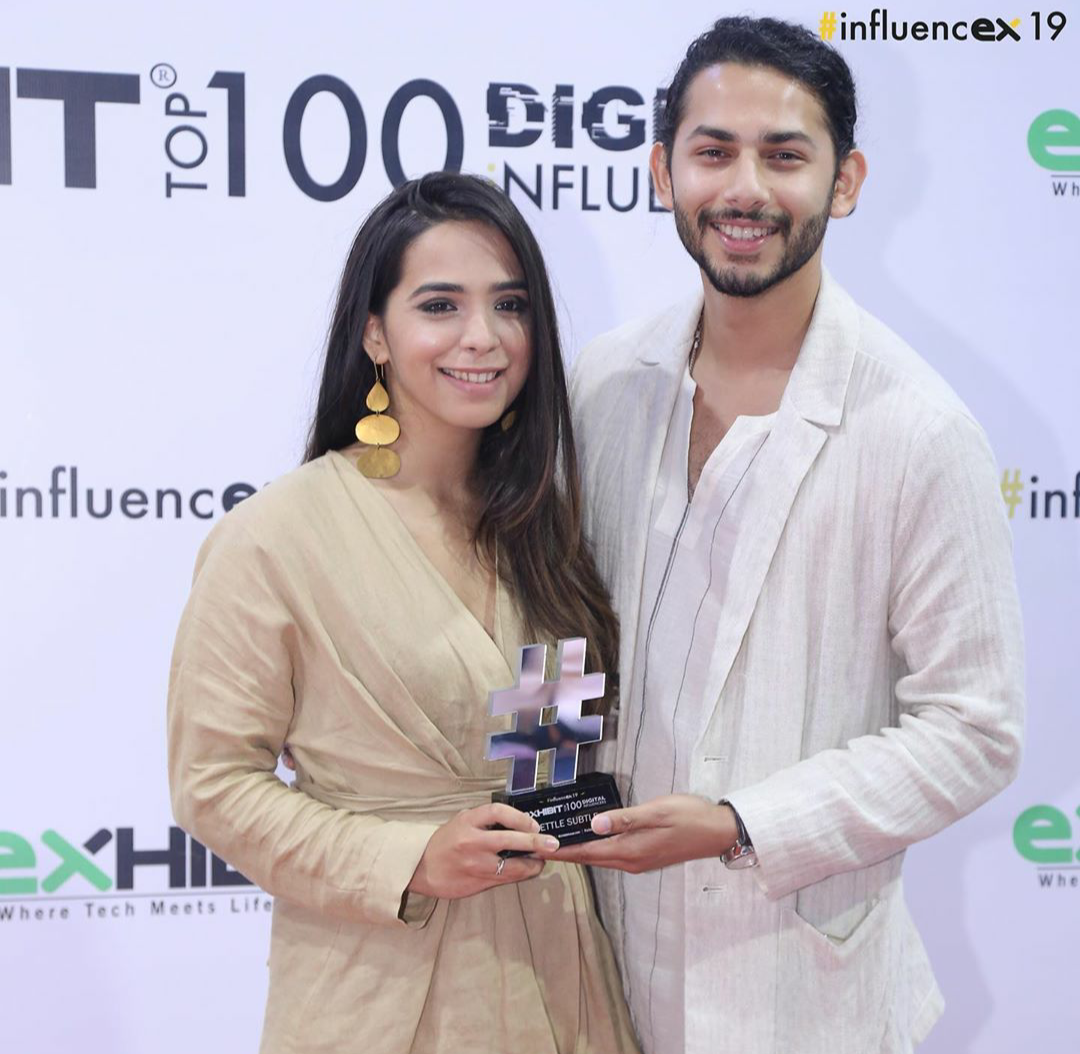 Siddhi Karwa of the blog Settle Subtle in our PEBBLE Earring for the INFLUENCEX AWARDS'19 by exhibitmagazine