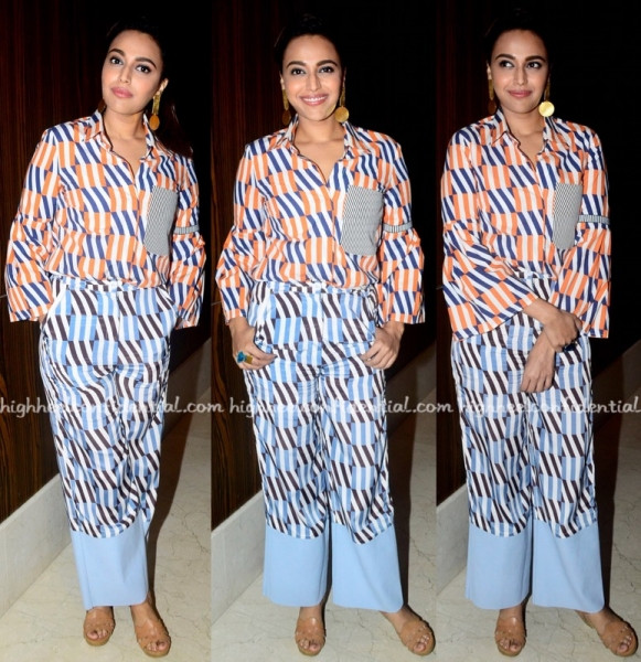 """Swara Bhaskar in our earring and ring for rajeev masand's """"THE ACTRESSES ROUND TABLE"""" -2017, styled by Divya Saini"""