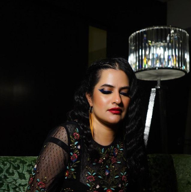 Sona Mohapatra in our earrings for Live concert in Hyderabad