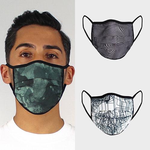 3er-Set Masken für Herren 3-Falten-Modell mit Paspel