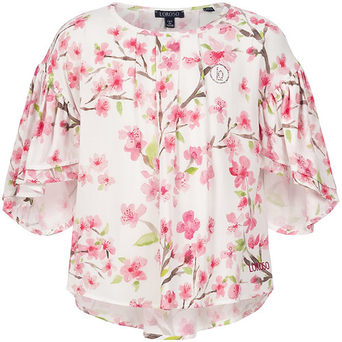 Blouse with almond blossom print