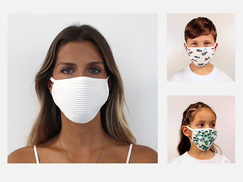5er-Set Plissé-Masken für Kinder und Erwachsene