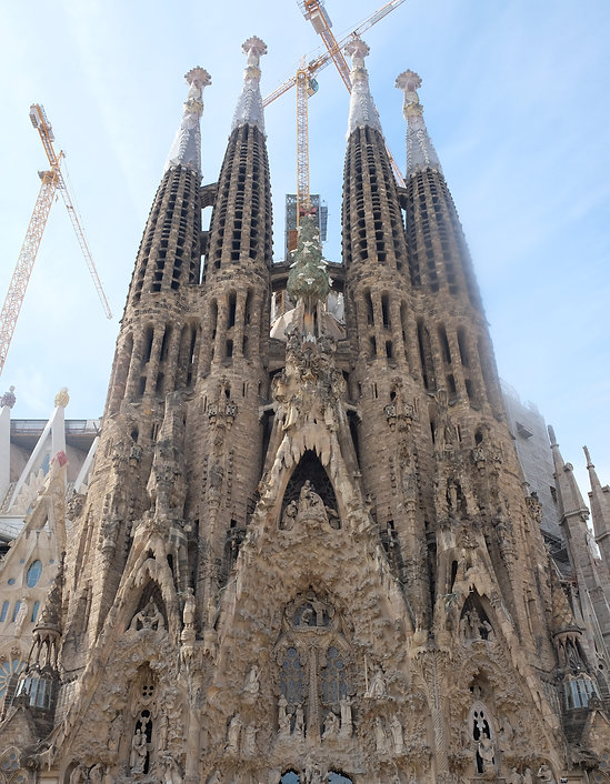 Soaring cranes over the Sagrada Familia