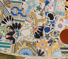 Orange Blue Yellow Mosaic Parc Guell