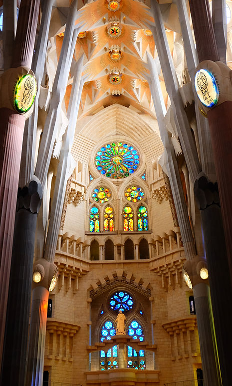 Beautiful stained glass windows Sagrada Familia