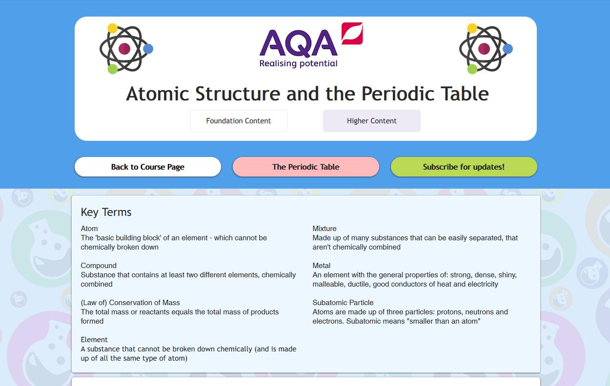 Aqa atoms periodic table gcse revisechemistry urtaz Choice Image