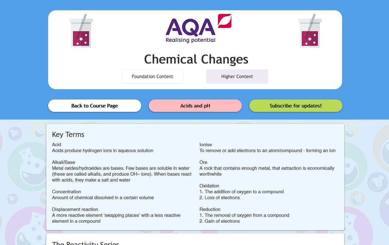 Aqa chemical changes gcse revisechemistry urtaz Choice Image