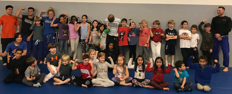 kids posing after bully prevention seminar