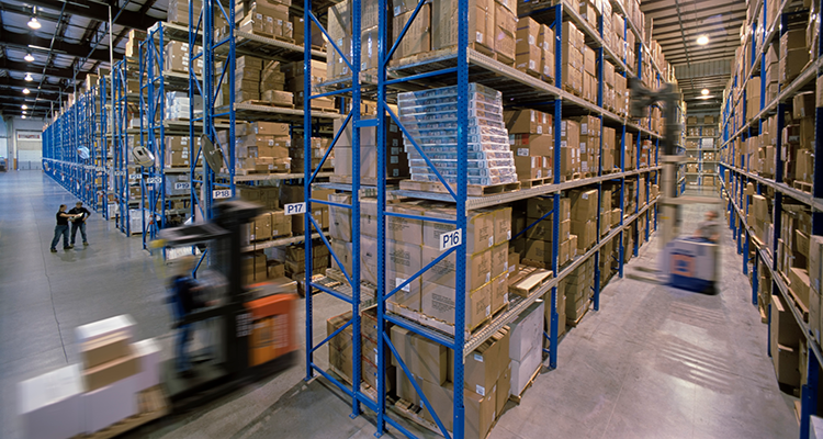 large warehouse with numerous packages