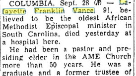 In 1952, Lafayette Franklin Vance Oldest SC AME Minister Dies at 91