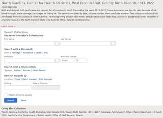 North Carolina, Center for Health Statistics, Vital Records Unit, County Birth Records, 1913-1922