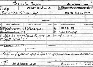 US Civil War Pension Payment Card for Berry Leech, 135th Colored Infantry