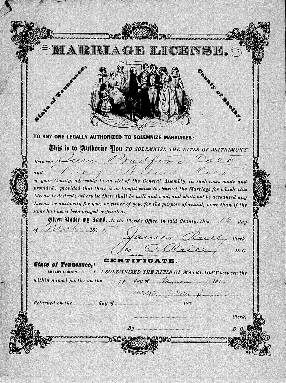 Lucy Nelms (1856-1929) married Sam Bradford on 16 March 1875 in Shelby County, Tennessee. Her second husband was Henderson Nelms.