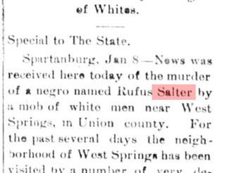 Rufus Salter (D. January 1, 1900), Negro Farmer, Shot Dead in His Door by a Gang of Whites