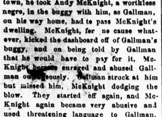 The Last Days of Andrew McKnight's (D. 22 June 1889) Life