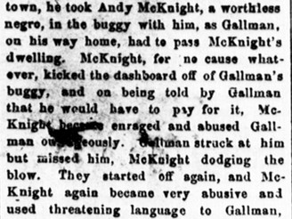 The Last Days of Andrew McKnight's (D. 22 June 1889) Life