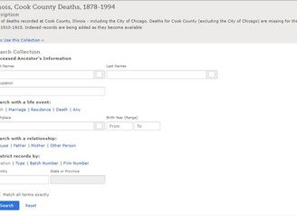 Illinois, Cook County Deaths, 1878-1994 Covers Deaths Reported to County Clerk by Physicians