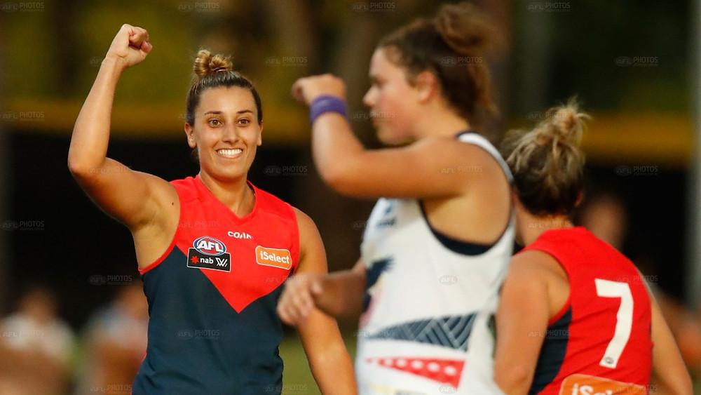 Melbourne's Alyssa Mifsud celebrates a goal.