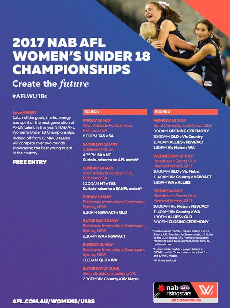 2017 NAB AFL Women's Under 18 Championships fixture