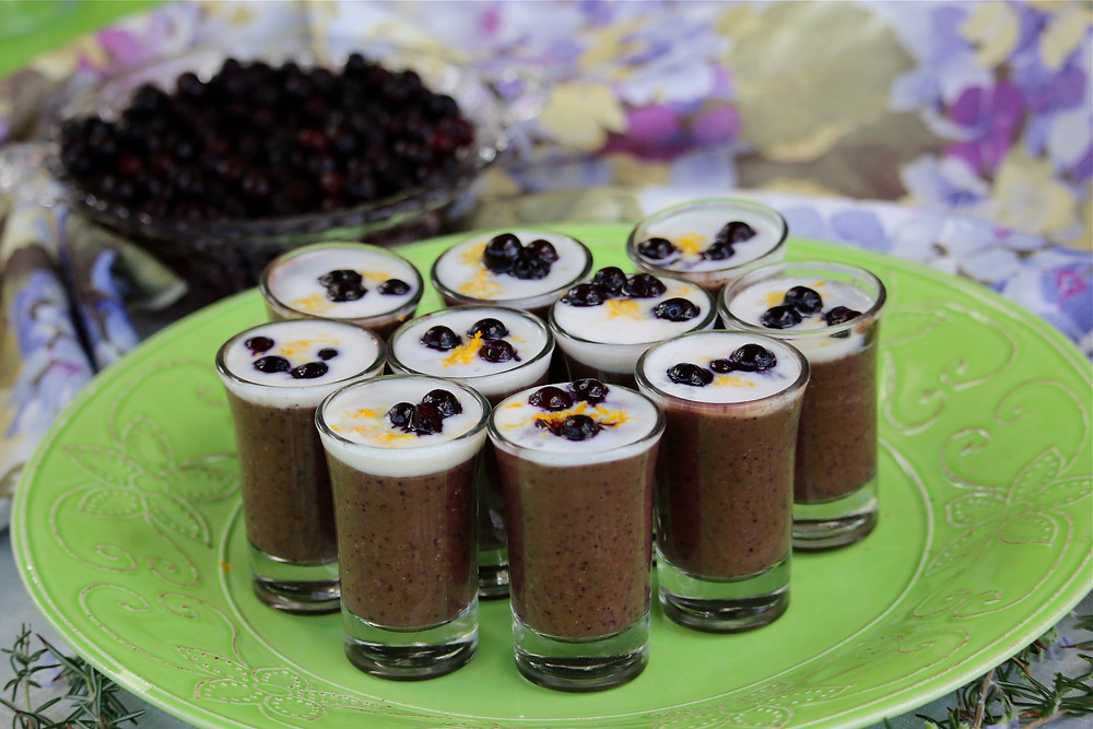 Chocolate Wild Blueberry Smoothie Shooters