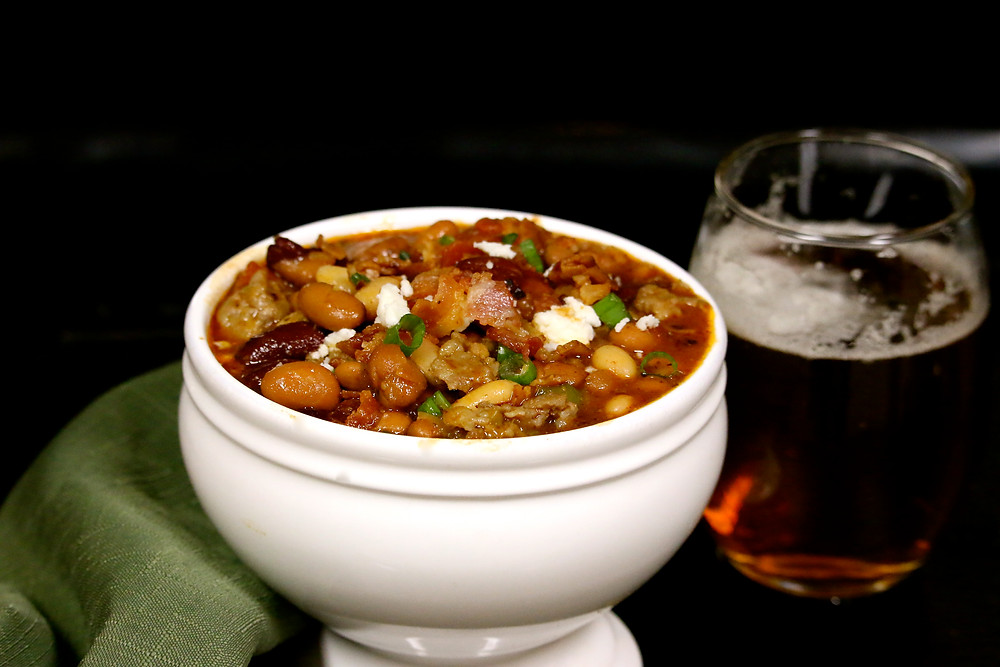 Brats, Beer, Bacon & Bean Chili
