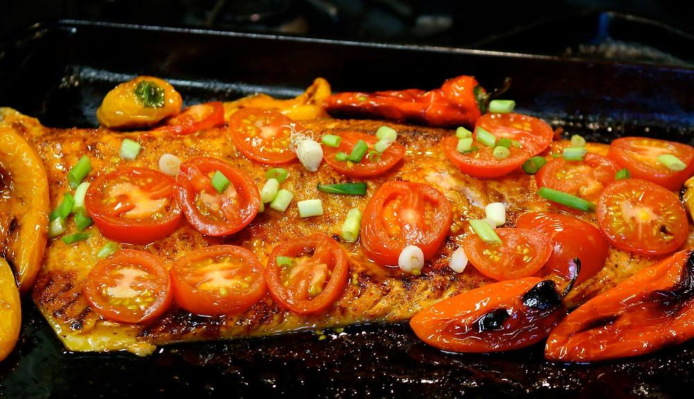 Smoked Paprika-Coriander Steelhead with Roasted Tomatoes