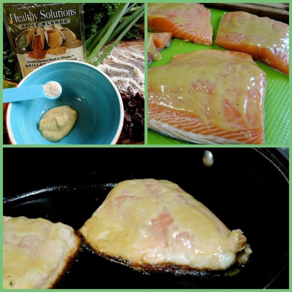 Dijon maple sauce on salmon