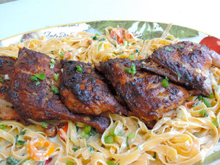 WHAT'S FOR LUNCH: Lime Chipotle Rotisserie Duck Legs on Creamy Butternut Pasta