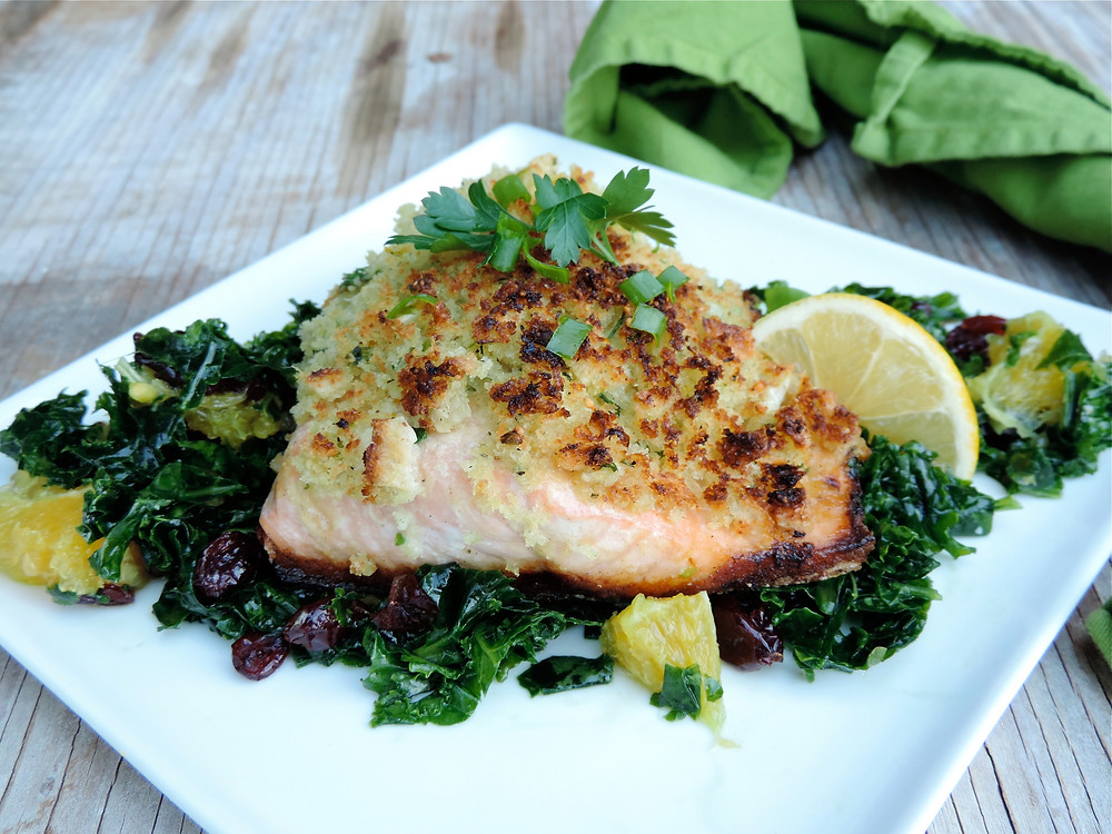 Healthy Solutions Sourdough Crusted Salmon on Citrus Kale Salad