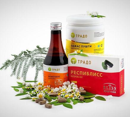 Аюрведические продукты и препараты Традо, натуральные восстановительные травяные комплексы из Индии