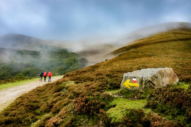 The yellow arrows guiding us across the highlands of the Pyrenees.