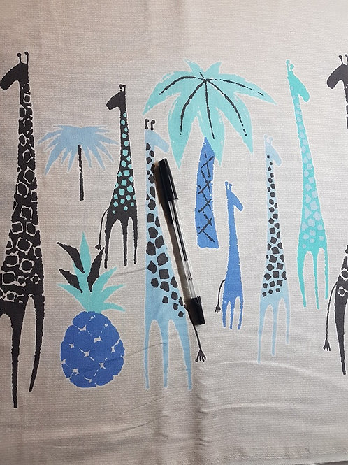 Giraffe Fabric Double Border Print Blue Giraffes