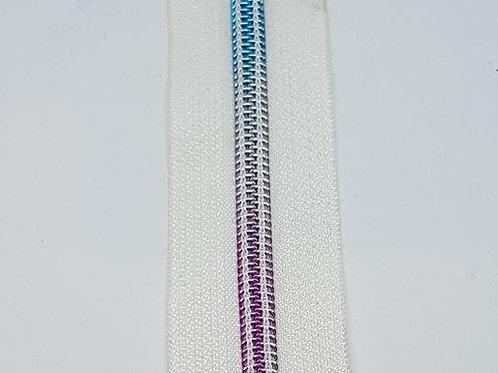 #7 White Tape with Nylon Rainbow Teeth