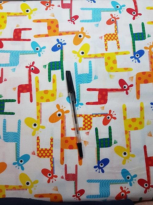 Multicolour Giraffes Fabric