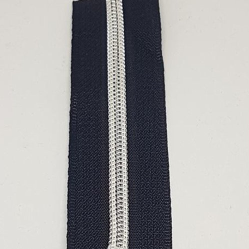 Navy Tape with Nylon Silver Teeth