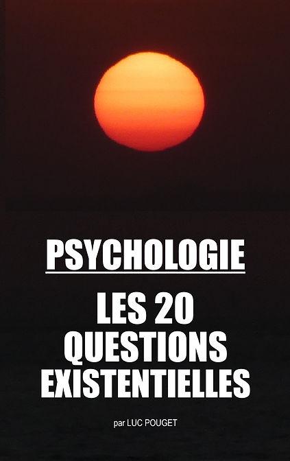 Photo de couverture couleur du livre PSYCHOLOGIE, les 20 questions existentielles sur fond brun avec un coucher de soleil en gros plan orange et les lettres en blanc.