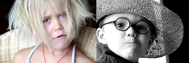 une photo double avec à gauche une petite fille espiègle qui fait la grimace en couleur et à droite un petit garçon en noir et blanc avec un chapeau en paille qui fait aussi la grimace.