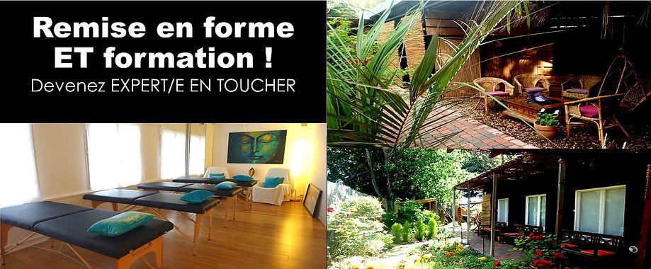 Plusieurs photos couleur du lieu de stage massages, avec un jardin exotique, des bancs de méditations, et une salle de travail avec des tables de massages.