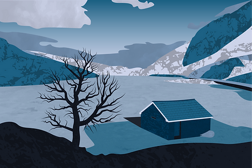 Llyn Ogwen (Winter/Gaeaf)  - Vector Illustration Print