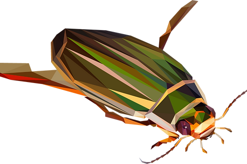 Geometric Great Diving Beetle - Vector illustration postcard