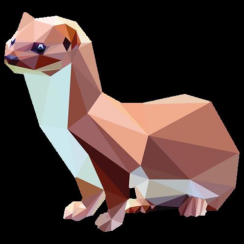 Geometric Weasel - Vector illustration postcard