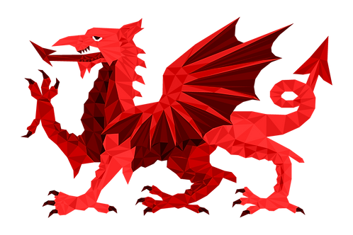 Geometric Welsh Dragon - Vector illustration postcard