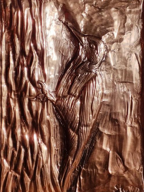 Copper Greater Spotted Woodpecker - Fine art postcard
