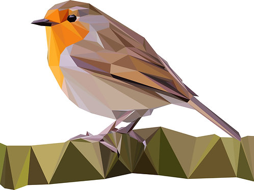 Geometric Robin - Vector illustration greeting card