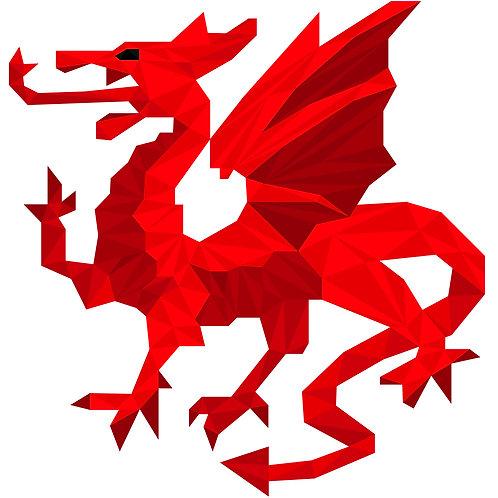 Geometric Red Dragon - Vector illustration postcard