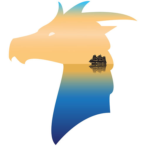 Sea Dragon - Vector illustration postcard